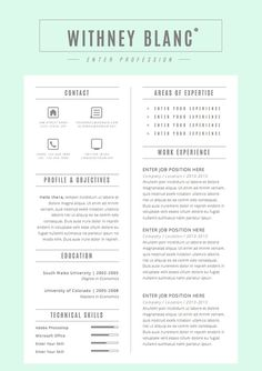 Resume Template / CV Template + Cover Letter for Word ( 4 page ...
