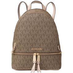 Michael Michael Kors Rhea Zip Medium Backpack ($298) ❤ liked on Polyvore featuring bags, backpacks, mocha, zip bag, day pack backpack, brown backpack, zipper bag and tablet bag