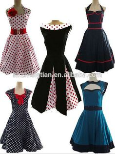 ropa de los años 50 e ideas de vestidos con distintas telas                                                                                                                                                      Más