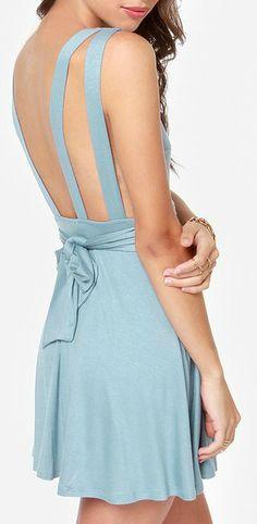 Backless Light Blue Dress
