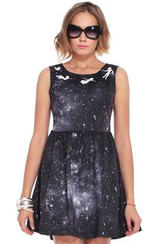 Can I just like...please get this? No. Christmas present right here ROMWE | Angel Print Galaxy Dress, The Latest Street Fashion