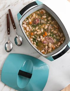 A silky, long-simmered pot of pork and beans is the perfect, easy recipe for cool weather fare.