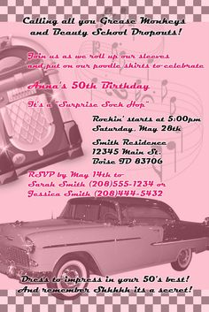 50's+diner+theme+party | 50's Theme Birthday Invitation