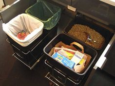 How To Organize Waste in a Small Kitchen Good use of awkward under-sink cabinet: install pull-out bins for trash, recycling, compost, etc. Food Dog, Dog Food Recipes, Kitchen Storage Solutions, Kitchen Organization, Organization Station, Organized Kitchen, Dog Food Storage, Storage Ideas, Diy Storage