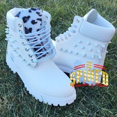 Custom white spiked leopard timberlands by SpikedCons on Etsy Tims Boots, Timberland Boots Outfit, Shoe Boots, Timberlands, Custom Timberland Boots, Timberland Mens, Black And White Boots, Black Shoes, Red Black