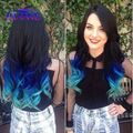 Black Blue Light Blue Synthetic Hair Extensions With Closure 3 Bundles Body Wave Ombre Blue color Synthetic Hair Weft Extensions
