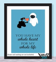 Wall-E // Disney Prints // 8x10 // Wall E and Eve by V316Designs