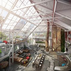 Built in, around, with and furnished by nature, this loft living space exudes a natural elegance that is not hard to see.
