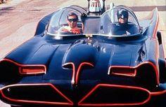 "Burt Ward as Robin, Adam West as Batman in The Batmobile  ""Batman"" (1966-68)"