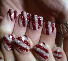 Christmas Nails Art - Silver and Scarlet Stripes - Click pic for 25 Christmas Holiday Crafts DIY