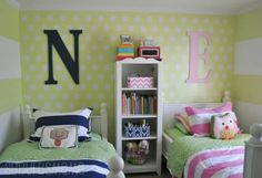Interior  Fancy Polkadot In Boy And Girl Shared Room Ideas With Wooden Frame Bed In Blue And Pink Strip Bedsheets In Light Green Scheme Feat Alphabet Wall And Display Shelves Awesome and Enjoyable Boy and Girl Shared Room Ideas
