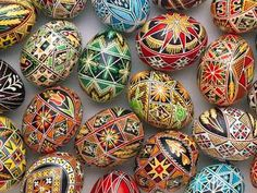Happy Easter - these Ukrainian Easter Eggs were hand painted by my great grams. Fete Pascal, Easter Egg Pictures, Ostern Wallpaper, Orthodox Easter, Carved Eggs, Easter Egg Designs, Ukrainian Easter Eggs, Ukrainian Art, Easter Traditions