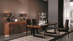 Dining Room Table Sets And Consider Your Budget : Elegant Picket Eating Area Design With Black Leather Based Dining Chair Plus Wooden Vainness Lamps The High As Nicely Brown Wallpaper Decor Also Soft Brown Curtain Window