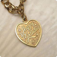 Vintage Bracelet Birthday Heart Charm Gold by PurpleDaisyJewelry