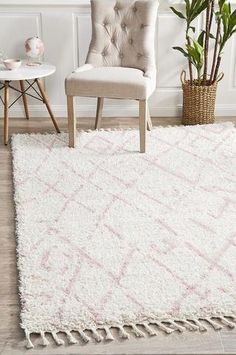Buff Pink Rug Material: Polypropylene Pile Height: Fringe Length: (each side) Construction: Power Loomed Origin: Made inTurkey Moroccan Pattern, Moroccan Design, Moroccan Rugs, Pink Shag Rug, Pink Rugs, Transitional Rugs, Neutral Palette, Small Rugs, Trendy Colors