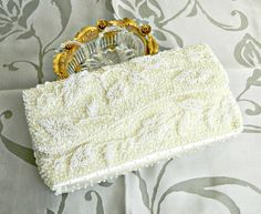 Vintage White Beaded Evening Bag, White Wedding Clutch, Beaded Clutch, Formal Purse, White Satin Beaded Handbag, by retrogroovie on Etsy