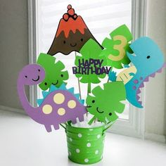 DINOSAUR SET Centerpiece Dino Brontosaurus T-Rex Decorations Center piece Baby Shower Party wall decor center piece cutouts cut outs by SweetMapleSugar on Etsy Third Birthday, 3rd Birthday Parties, Birthday Party Decorations, Baby Shower Decorations, Birthday Table, Centerpiece Decorations, Party Centerpieces, Baby Birthday, Dinosaur Party Decorations