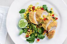 Polenta chicken with corn salsa