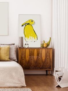 Worldwide shipping available, free UK delivery. Yellow Hare illustration available as a handmade print in four, easy to frame sizes. Hare Illustration, Frame Sizes, Free Uk, Screen Printing, Delivery, Paintings, Art Prints, Yellow, Easy