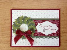 Christmas-Stampin Up handmade Christmas card - punch art Christmas wreath card Homemade Christmas Cards, Stampin Up Christmas, Christmas Cards To Make, Christmas Greeting Cards, Greeting Cards Handmade, Homemade Cards, Handmade Christmas, Holiday Cards, Christmas Wreaths