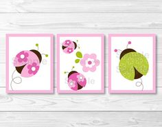 Hey, I found this really awesome Etsy listing at https://www.etsy.com/listing/69061834/pink-green-ladybug-nursery-wall-art