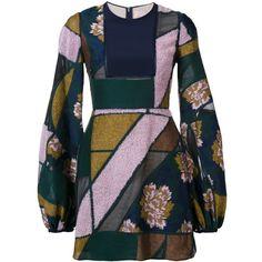 Roksanda bell-sleeve patchwork dress ($2,585) ❤ liked on Polyvore featuring dresses, blue, roksanda dress, bell sleeve dress, roksanda, blue dress and patchwork dresses