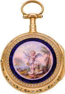 Chatenay Versailles 18k Gold & Enamel Quarter Hour Dumb Repeater,   circa 1820