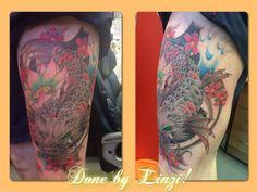 Koi dragon, lotus flower, thigh tattoo, colourful