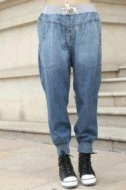 Gradient Elasticated Blue Harem Pants  $66.99    romwe.com