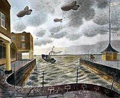 Painting, Eric Ravilious Barrage Balloons Outside a British Port, Leeds Art Gallery Online. Leeds Art Gallery, Online Art Gallery, Penguin Books, Landscape Art, Landscape Paintings, Oil Paintings, English Artists, British Artists, Homemade Art