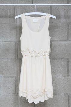 scalloped edge white summer dress. good for rehearsal dinner, bachelorette, wedding shower...