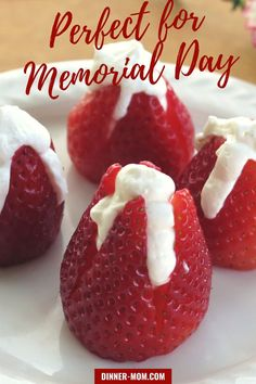 EASY Cheesecake Stuffed Strawberries are a patriotic and delicious dessert for a Memorial Day party! Memorial Day Desserts, Stuffed Strawberries, Cream Cheese Filling, Strawberry Cheesecake, Mini Chocolate Chips, Perfect Food, Food Cravings, Healthy Recipes, Healthy Food