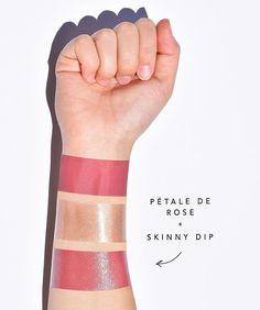 Jouer Cosmetics Skinny Dip Lip Topper on top of Petalè de Rose Lip Crème.  | #jouer #jouergirl #jouercosmetics