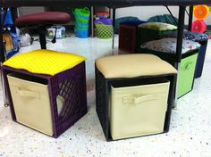 milk crate seating with pull out fabric drawers!