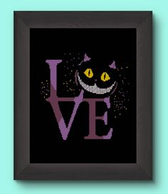 BUY 2 GET 1 FREE/Cheshire cat /Cross stitch pattern Alice in wonderland All mad here/ Disney Typography/ Smile/ Instant/ download /pdf/ #B9 by Embroidery4kidsArt on Etsy