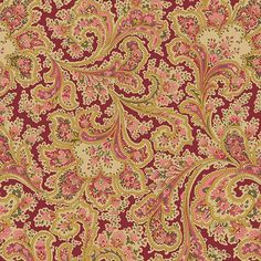 Benartex Rosemont Wide Quilt Back 108 Claret Malabar Paisley | Quilt Backing