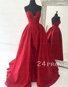 Custom Made Red Sweetheart Long Prom Gown,Prom Dress – 24prom