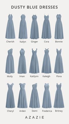 Shop for a large variety of dusty blue bridesmaid dresses at Azazie. With bridesmaid dresses from Azazie, you are sure to find a dusty blue bridesmaid dress for the perfect look for your wedding. Dusty Blue Bridesmaid Dresses, Wedding Bridesmaids, Wedding Dresses, Azazie Bridesmaid Dresses, Bridesmaid Dress Styles, Wedding Dress Shapes, Dusty Blue Dress, Azazie Dresses, Yellow Gown