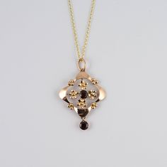 Vintage 9K Gold Garnet Lavaliere pendant With Gold Chain - rose gold pendants, gold flower decoration, garnet gemstones, victorian lavaliere by HelenasCurio on Etsy