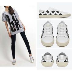 saint laurent Star Patch Sneakers 생로랑 스타패치 흰검 스니커즈 슈즈 산다라박 신발 운동화