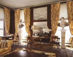 Paris Library - wallcovering, Stroheim and Romann, by Juan-Pablo Molyneux French Architecture, Interior Architecture, Interior Design, Molyneux, Century Hotel, Classic Living Room, Antique Interior, Home Libraries, Drawing Room