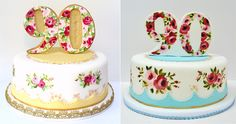 painted cake Amelie, Beautiful Cakes, Amazing Cakes, 90th Birthday Parties, Birthday Cakes, Birthday Ideas, Shabby Chic Cakes, Glass Cakes, Fondant Toppers