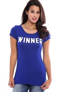 Deb Shops Tunic Tee with Winner 01 Screen $14.25