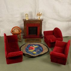 VINTAGE DOLL HOUSE FURNITURE LIVING ROOM SET COUCH CHAIRS FIREPLACE GLOBE RUGS #None