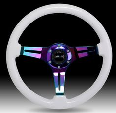 NRG 350MM RACING STEERING WHEEL WHITE Wood Grain & Neo Chrome 3-SPOKE Center in eBay Motors, Parts & Accessories, Car & Truck Parts | eBay