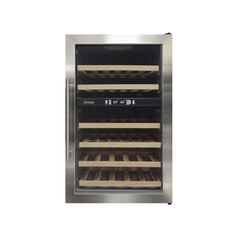 "34 Bottle Dual-Zone Wine Cooler - Vinotemp.  Very sleek looking, but the wood shelves give it more of a traditional wine storage look.  Dimensions: 23 1/2"" x 33 3/4"" x 19.4"".  Dual temperature zones allow you to separate wines and keep them chilled at their proper temperatures."