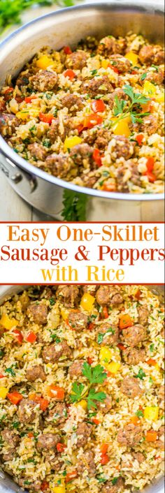 Easy One-Skillet Sausage and Peppers with Rice - Juicy sausage, crisp peppers, onions, and rice all cook together in one skillet! Makes cleanup a breeze! Packed with flavor and ready in 30 minutes! (Sausage Recipes For Dinner) Pork Recipes, Cooking Recipes, Healthy Recipes, Paleo Meals, Cooking Chef, Cooking School, Healthy Soup, Easy Cooking, Food Dishes