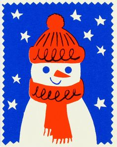 Bright snowman illustrated stamp - Illustration — for Children - Decoration Christmas Design, Winter Christmas, Christmas Time, Vintage Christmas, Christmas Crafts, Winter Illustration, Christmas Illustration, Xmas Cards, Holiday Cards