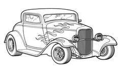 Old Truck Coloring Pages Beautiful Classic Hot Rod Car Coloring Page Printable Transportation Coloring Pages Race Car Coloring Pages, Coloring Pages For Girls, Coloring Pages To Print, Free Coloring Pages, Coloring Books, Printable Coloring, Kids Coloring, Coloring Sheets, Hot Rod Trucks