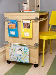 Towel rods on kids' desks for art supplies, school work...
